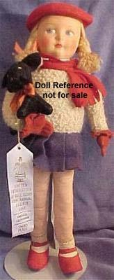 1930s Dean's Rag Book cloth girl doll 15""