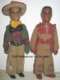 1937 Dollcraft Novelty Lone Ranger & Tonto dolls
