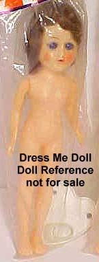 "Grant Plastics, 11"" hard plastic dress me doll"