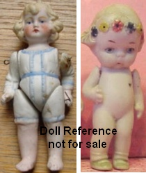 Hertwig, All Bisque dolls, Girl w/molded clothes, Girl w/flowers in hair