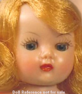 "1953 Muffie doll face, 8"" by Nancy Ann Storybook Company"