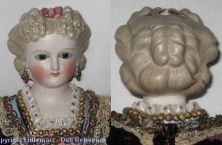 1870 Parian doll head with fancy hair, molded neckline - photo courtesy Little Marz