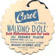 "1950's Paris Carol doll, 25"" tag"
