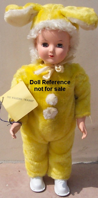 1954-1955 Advance Wanda Wabbit Walking doll, 17-18""