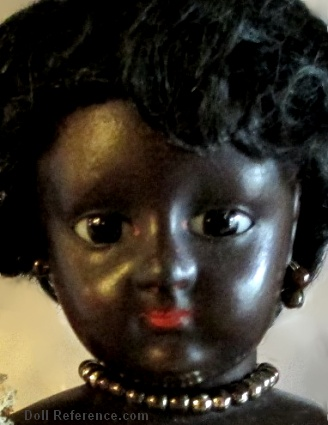 Antique French black Lady Fashion doll, 9""