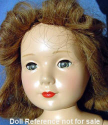 "ca. 1935-1940s Sybil Jason doll face, 14"" a child actress star"