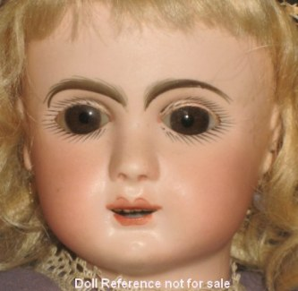"1890s J Steiner Figure A doll, 14"" tall, open mouth, teeth"