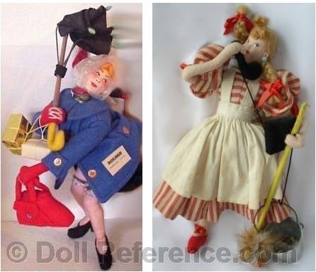 left; Roldan Windy Day doll right; Klumpe Talker doll