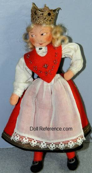 Ronaug Petterssen cloth Bride doll 7 1/2""