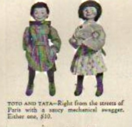 "1939 SFBJ Tata doll, Toto doll, 14 1/2"" , Abercrombie & Fitch ad"