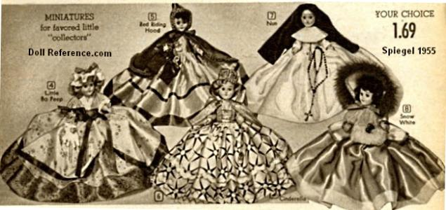 "1957 Spiegel catalog - Miniatures for favored little ""collectors"" Dress Me dolls 7 1/2"" tall, $1.69"