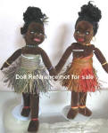 1930s Wellings cloth Island Girl dolls 16""