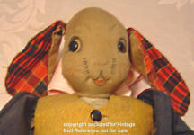 1934 Averill Uncle Wiggily Longears cloth doll face