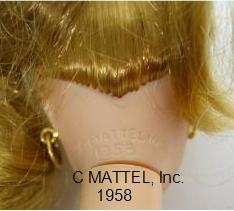 repro Barbie mark on back of neck rim:  c Mattel Inc. 1958