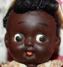 "ca. 1960s Happy Toy Ponytail black girl doll, 5"", made in Japan"