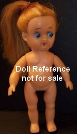 "ca. 1960s Happy Toy Ponytail white girl doll, 5"", made in Japa"