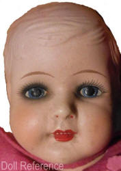 "1928 Hendren Val-Encia composition doll, 14 or 20"" tall with heavy eye make up"