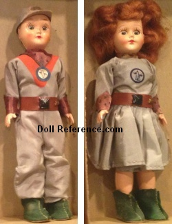 1952 A Marcie doll, Tom Corbett, Dr. Joan Dale dolls 7 1/2""