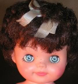 "Perky doll, 8"", freckle face"