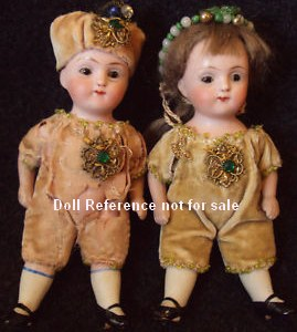 "Strolbel & Wilken, All Bisque dolls, 4 1/2"", doll mark SWC 251"